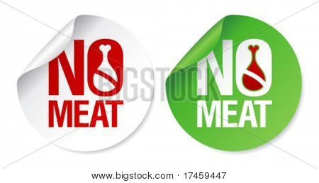 No meat round stickers set.