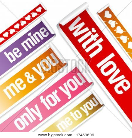 Big Valentine vector stickers set.