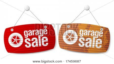 Garage for sale signs in form of roller shutters.