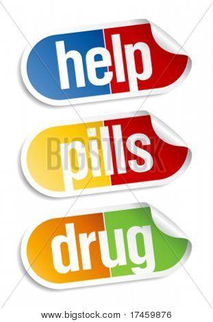 Pills, medical stickers set.