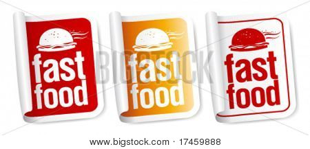 Fast Food stickers set.