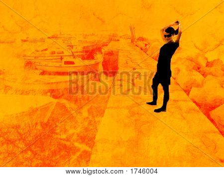 Young Black Girl On A Pier - Grunge Design
