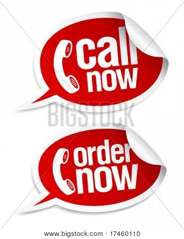 Call now stickers in form of speech bubbles.