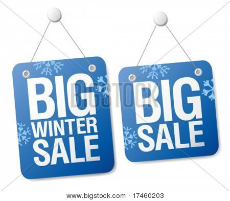 Big winter sale signs set.