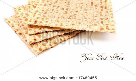 Matzo on white, background with place for text.