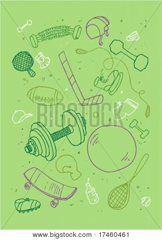 Vector illustraition of sports accessories, hand drawn design set.