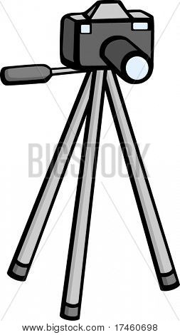 photographic camera in tripod stand