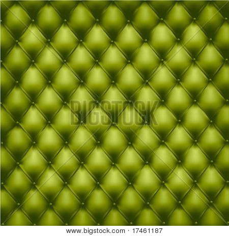 Green button-tufted leather background. Vector illustration.