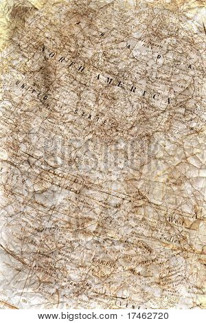 Vintage Crinkled Map Background Backdrop (Insert Your Subject)