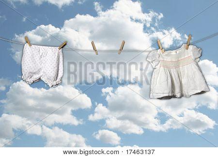Outdoor Clothesline on Beautiful Sky