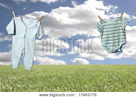 "Outdoor Clothesline on a Fantasy Sky and Grass Background (Insert Baby in Outfit in Middle ""Hanging"" Adorably!)"