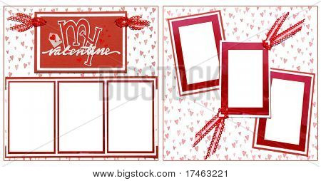 Valentine Theme Square Frame Scrapbook Template-Insert your Photos!