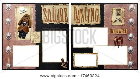Square Dance Theme Square Frame Scrapbook Template-Insert your Photos!