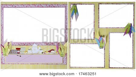 Girl Tea Party Theme  Square Frame Scrapbook Template-Insert your Photos!