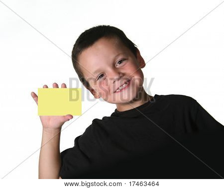 Young Child Holding Blank Yellow Note