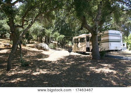 RV Camping in a Forrest Setting