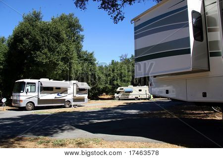 Class A Motorhome RV Camping at a Resort Campground