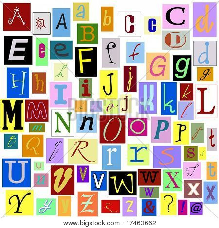 Alphabet Magazine Letters isolated so you can make your own unique words. TIFF file has individual layers.