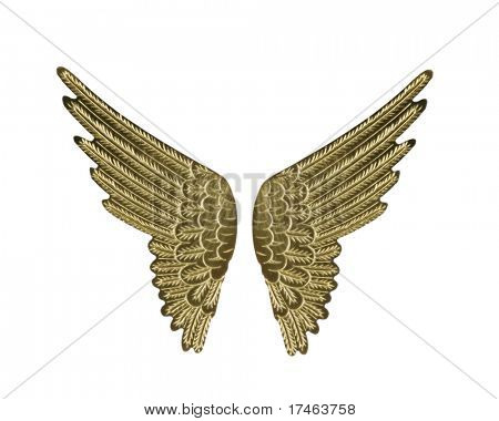 Gold Fairy Angel Wings Isolated on White