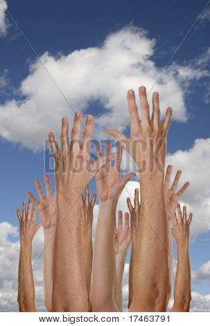 Hands Reaching For the Future With Cloudy Blue Sky
