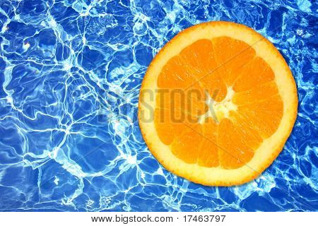 Sharp Icy Deep Blue Contrast Water With Fresh Orange Slice