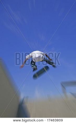 Young Adult Skateboarding in a Skate Park With Intentional Radial Blur For Speed Effect