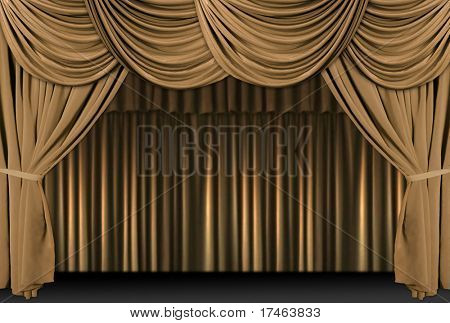 Old fashioned, elegant theater stage with gold velvet curtains.