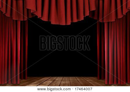 Red Stage Theater Drapes With Wood Floor
