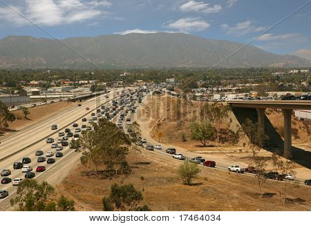 Traffic jam in California Highway System