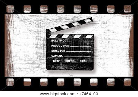 Grunge Dirty Movie Clapper Director's Board mit Filmstreifen auf weiß