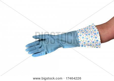 Blue Latex Cleaning Glove Isolated