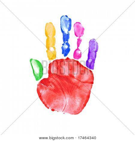 Impresión de la mano colorido brillante de pintura infantil