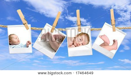 Multiple Baby Photos Hanging Against a Blue Cloudy Sky
