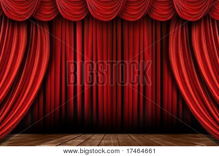 Dramatic Bright Red Stage Drapes With Many Swags