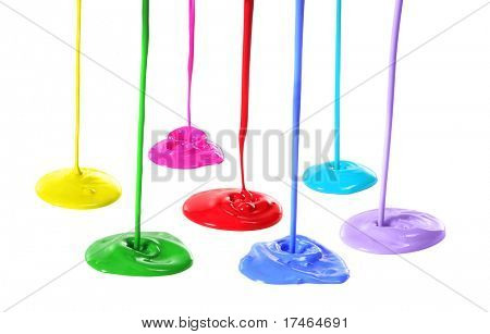 Bright Colors of Paint Pouring Onto a White Background