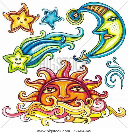 Vector set of Celestial symbols: sun, moon, star, comet, with human faces, and cute wind swirl