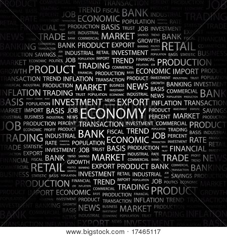 ECONOMY. Word collage on black background. Vector illustration. Illustration with different association terms.