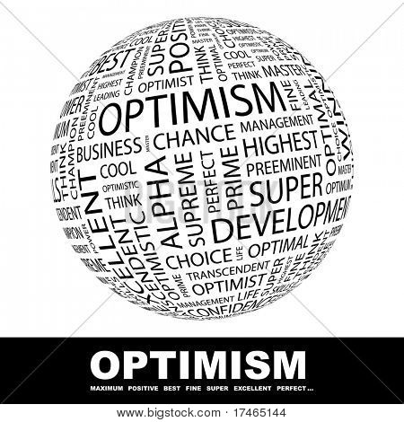 OPTIMISM. Word collage on white background. Vector illustration. Illustration with different association terms.