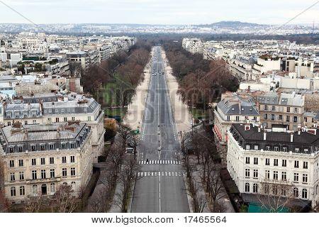 view from Arc de Triomphe on Bois de Boulogne in Paris, France