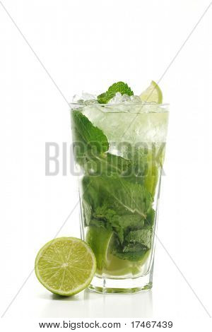Refreshment Alcoholic Drink made of White Rum, Sugar, Lime, Carbonated Water and Mint. Lime Garnish. Isolated on White Background.