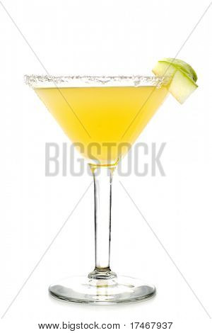 Alcoholic Cocktail Made of Tequila Mixed and Lemon Juice. Serve with Apple Slice. Isolated on White Background