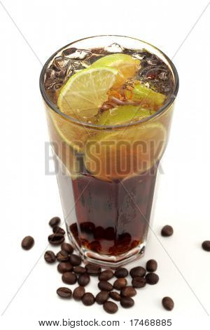 Refreshment Highball Drink made of Rum, Vodka, Gin, Tequila, Cola, Lemon and Coffee Crop. Isolated on White Background.