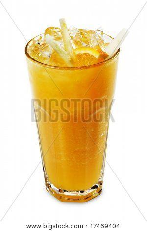 Orange Smoothie serviert mit Orange SLice und Rinde