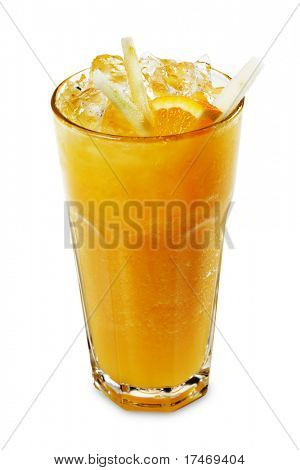 Orange Smoothie Served with Orange SLice and Rind
