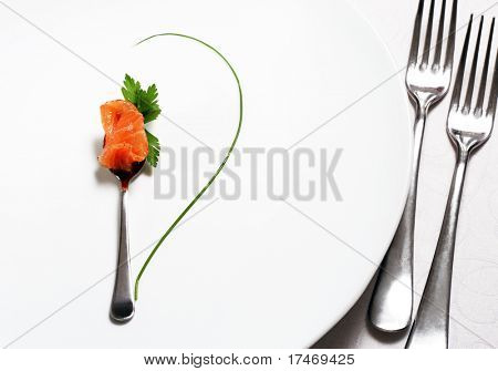 Food Still Life Flatware, Fish and Green. Abstract Flower