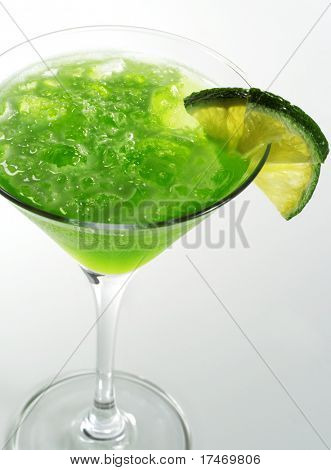 Alcoholic Cocktail made of Liqueur Lychee, Tequila and Lime Juice Garnish Lime Slice