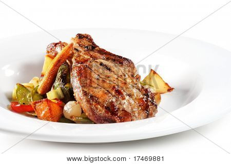 Pork Plate with Vegetables. Isolated on White Background