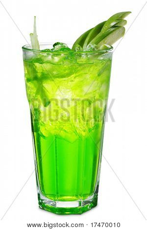 Green Alcoholic Cocktail made of Vodka and Liqueur with Apple amd Strawberry. Isolated on White Background
