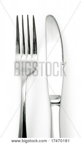 Fork and Knife over White