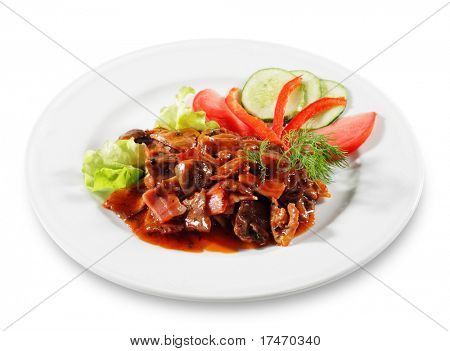 Beef with Tomato Sauce and Mushrooms. Serve with Vegetable. Isolated on White Background